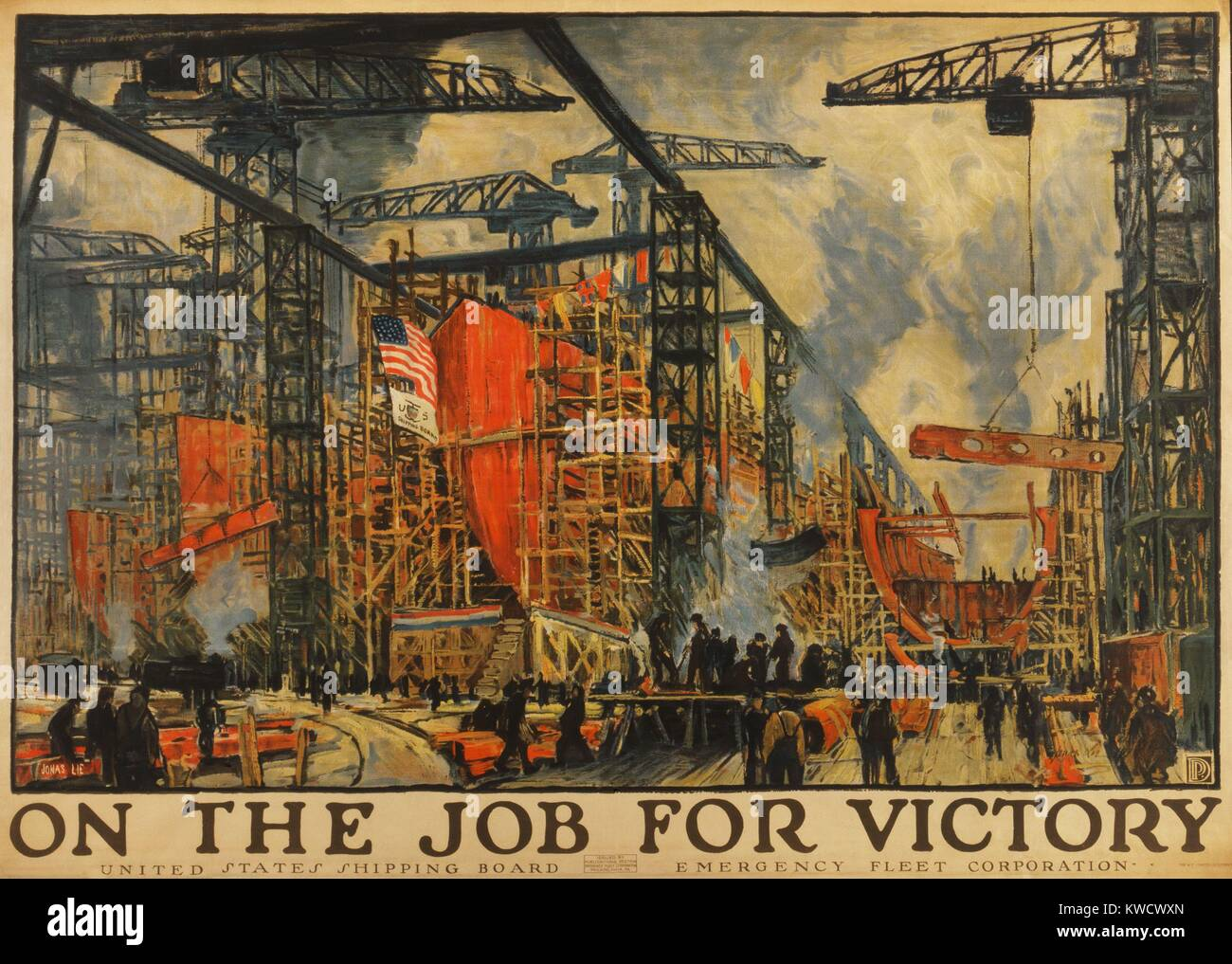 ON THE JOB FOR VICTORY. American Impressionistic painting of busy shipyard during World War 1. The Shipping Board - Stock Image