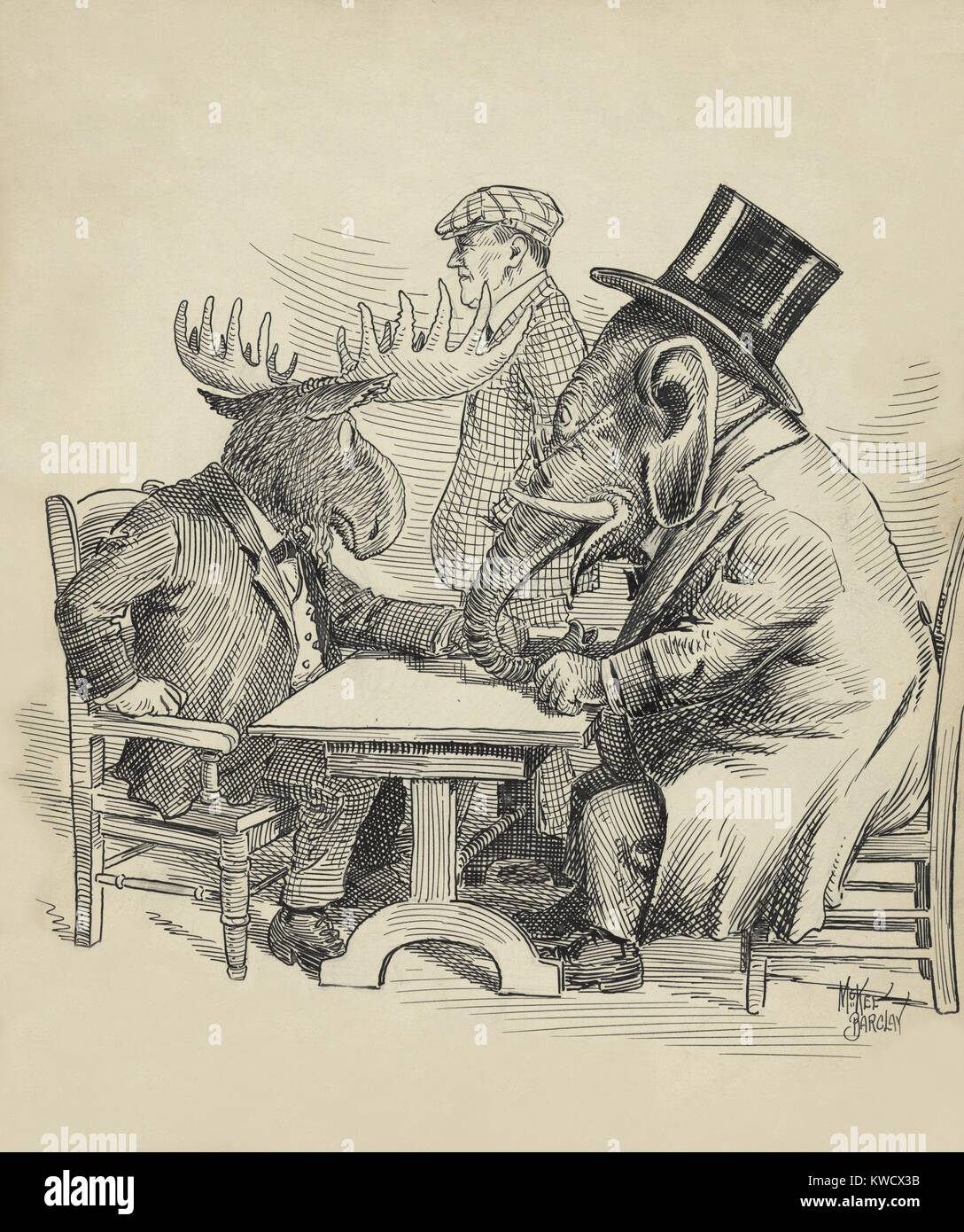 Political cartoon about the 1912 Presidential election by Barclay McKee. The Republican Elephant conferences with - Stock Image