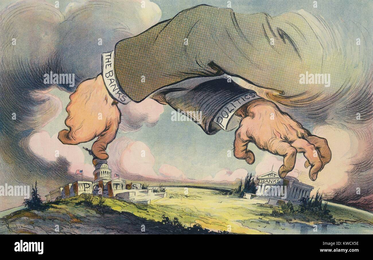 HANDS ACROSS THE LAND, political cartoon about the relationship between Politics and Banks. Puck Magazine, Aug. - Stock Image