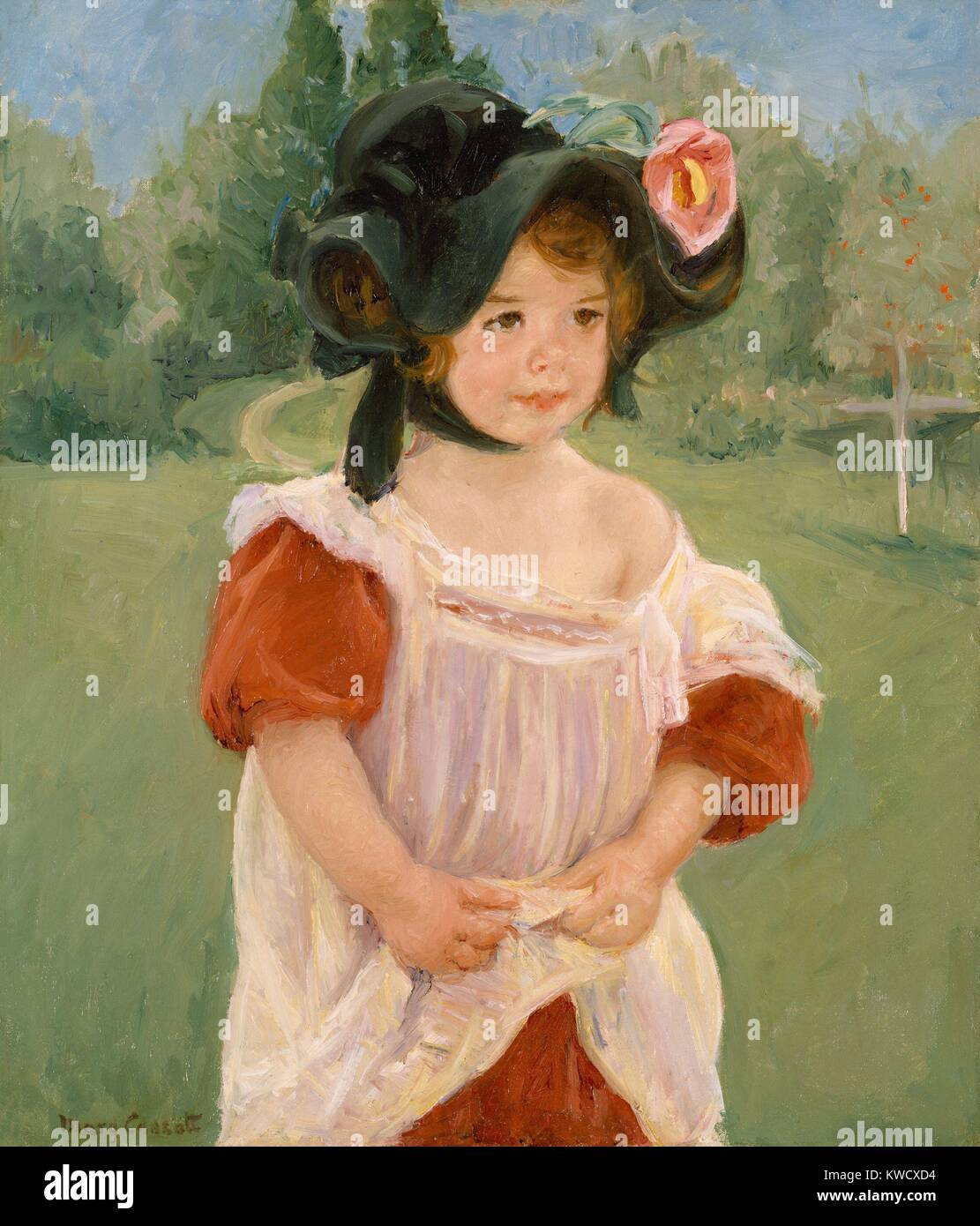 Margot Standing in a Garden, by Mary Cassatt, 1900, French impressionist painting, oil on canvas. Margot Lux, a - Stock Image