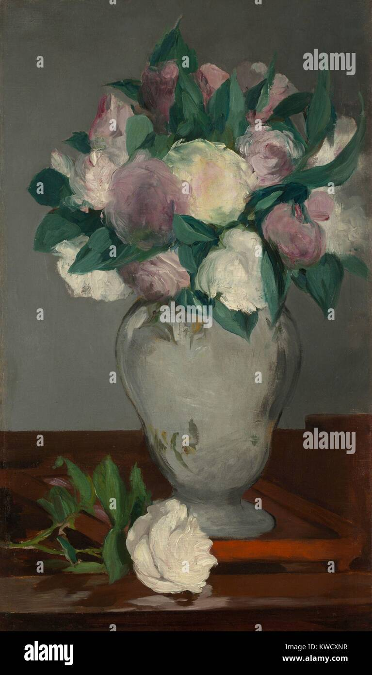Peonies, by Edouard Manet, 1864-65, French impressionist painting, oil on canvas. The flowers broad petals and leaves - Stock Image