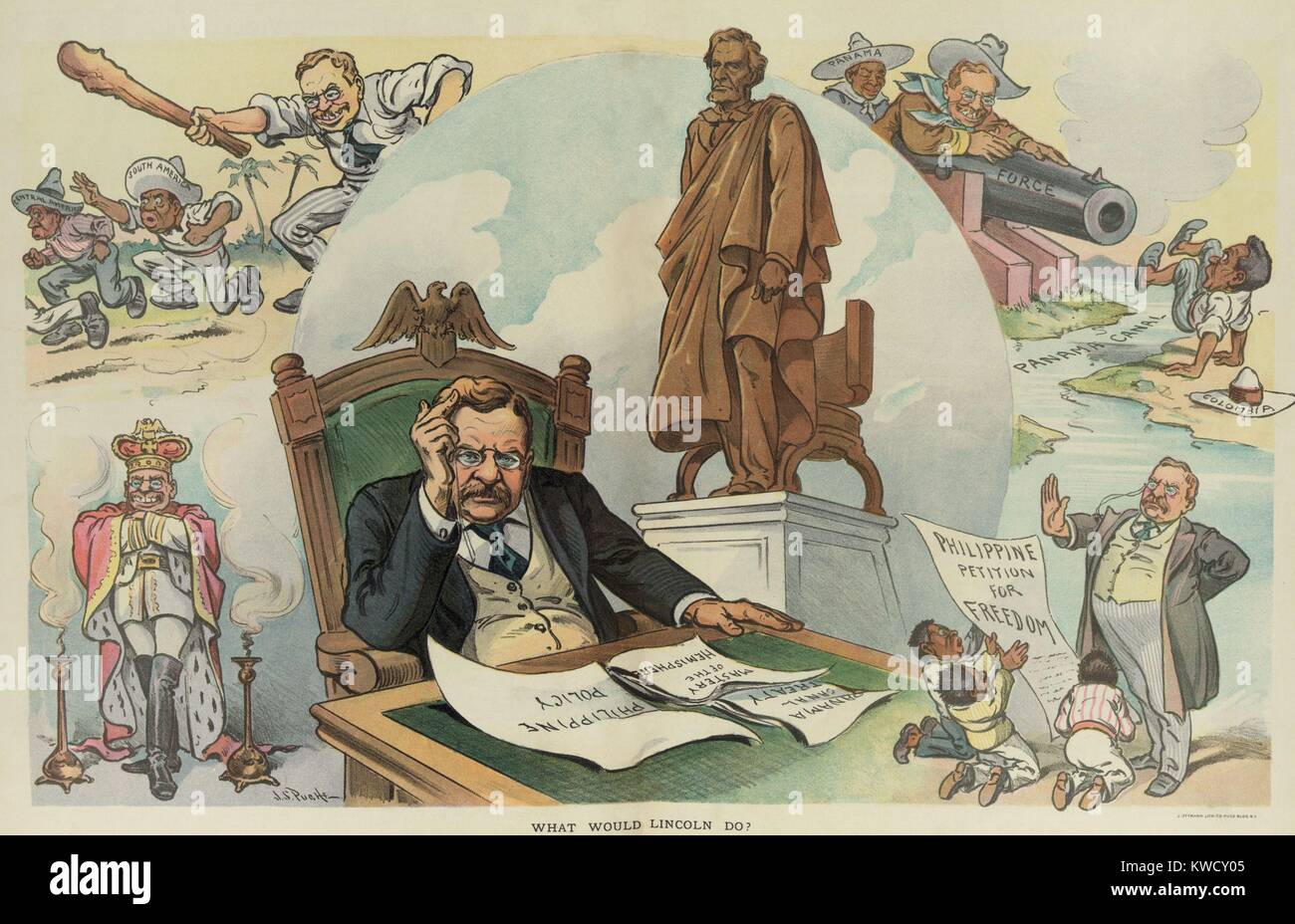 WHAT WOULD LINCOLN DO? PUCK Magazine cartoon of Sept. 28, 1905. Election year political cartoon critical of TRs - Stock Image