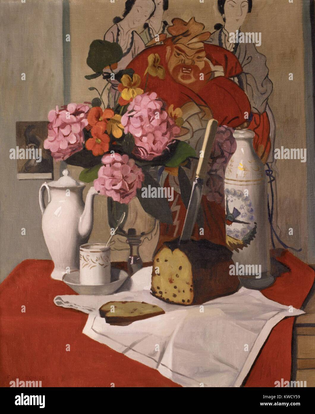 Still Life with Flowers, by Felix Vallotton, 1925, Swiss/French painting, painting, oil on canvas. A print of a - Stock Image