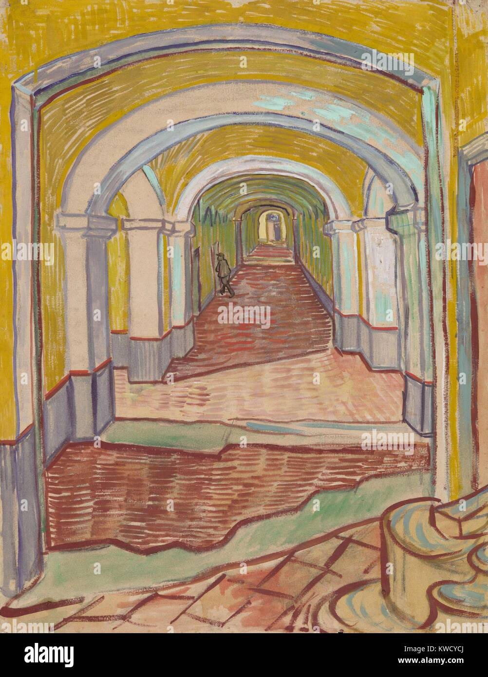 Corridor in the Asylum, by Vincent Van Gogh, 1889, Dutch Post-Impressionist painting. This mixed media work of oil - Stock Image