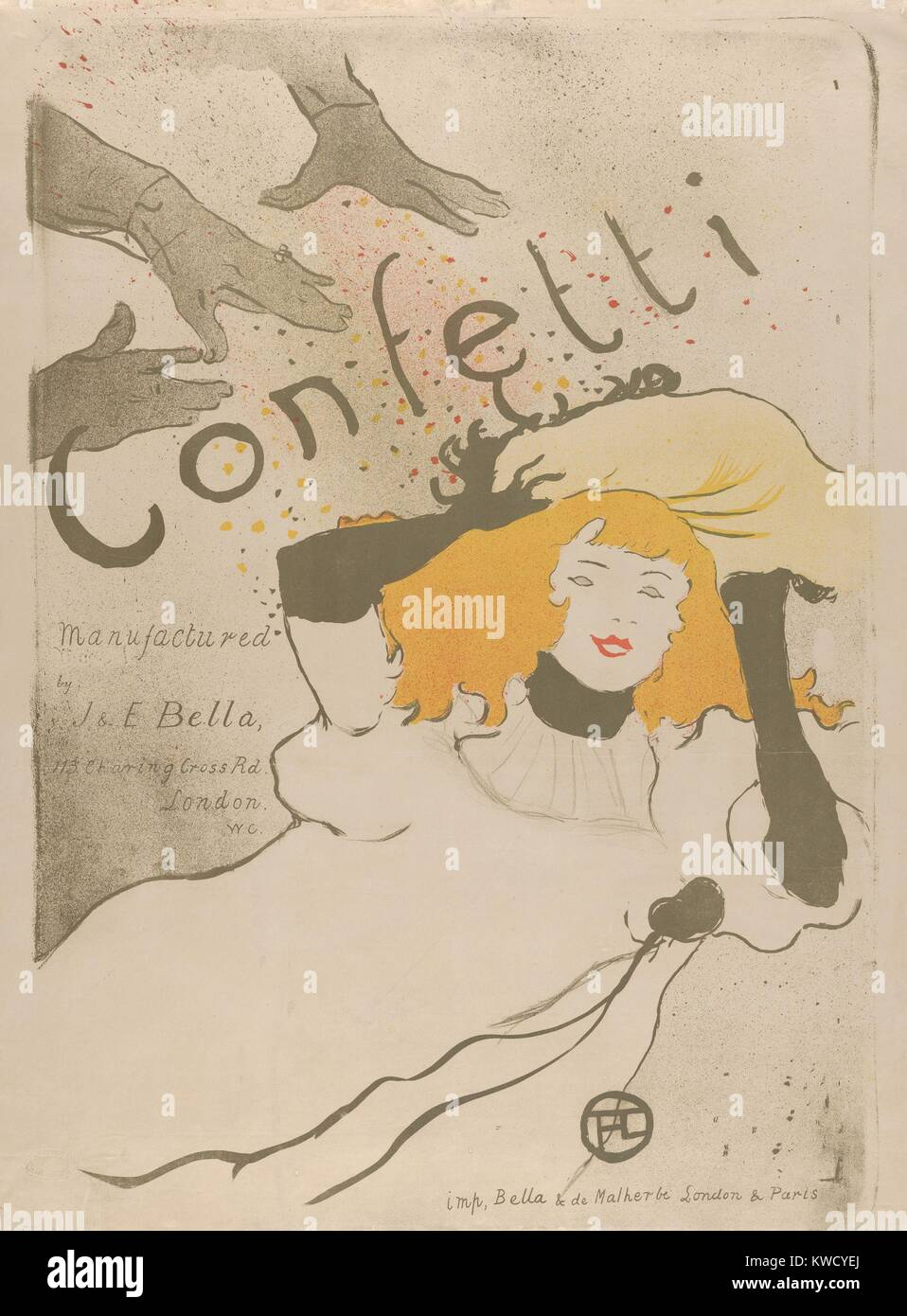 Confetti, by Henri de Toulouse-Lautrec, 1894, French Post-Impressionist, lithograph. This is an advertising poster - Stock Image