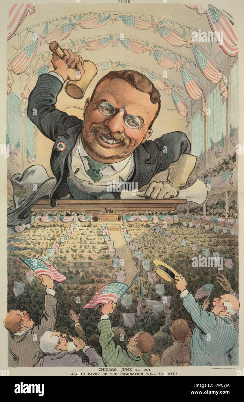 CHICAGO, JUNE 21, 1904. ALL IN FAVOR OF THE NOMINATION WILL SAY AYE! Cartoon in PUCK Magazine, shows an oversized - Stock Image