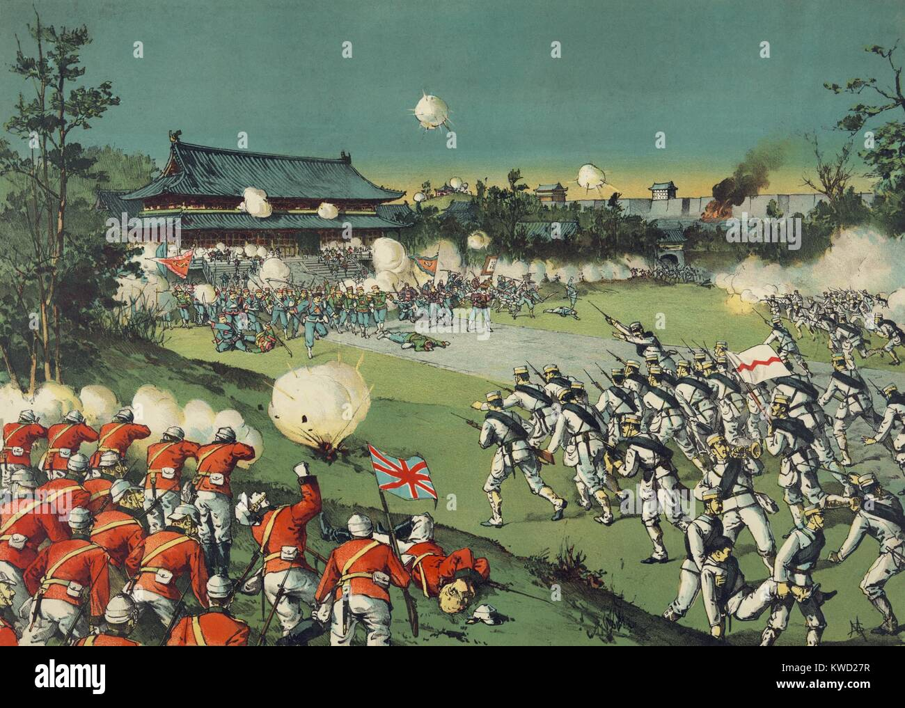 British and Japanese soldiers assaulting the Boxer forces at Imperial Castle, August 1900. They fought within the - Stock Image