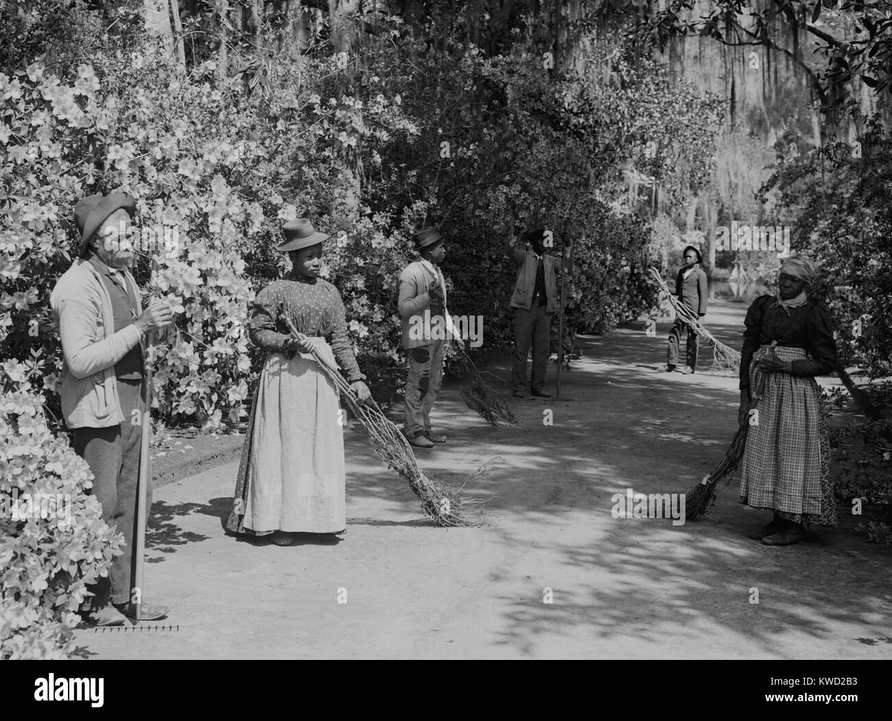 African American caretakers at the Magnolia Plantation and Gardens in Charleston, SC. The sweepers hold crude brooms - Stock Image