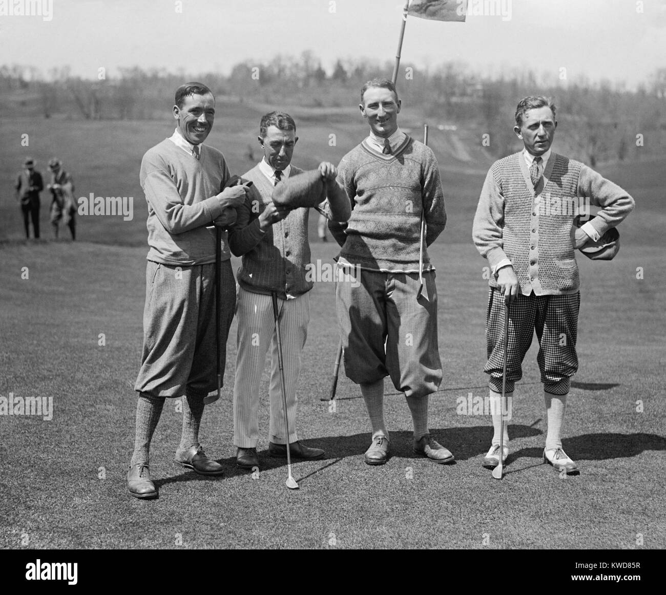 Golfers J.W. Ockenden, Fred McLeod, Arthur S. Havers, Jock Hutchison, April 22, 1924. McLeod and Hutchison were - Stock Image