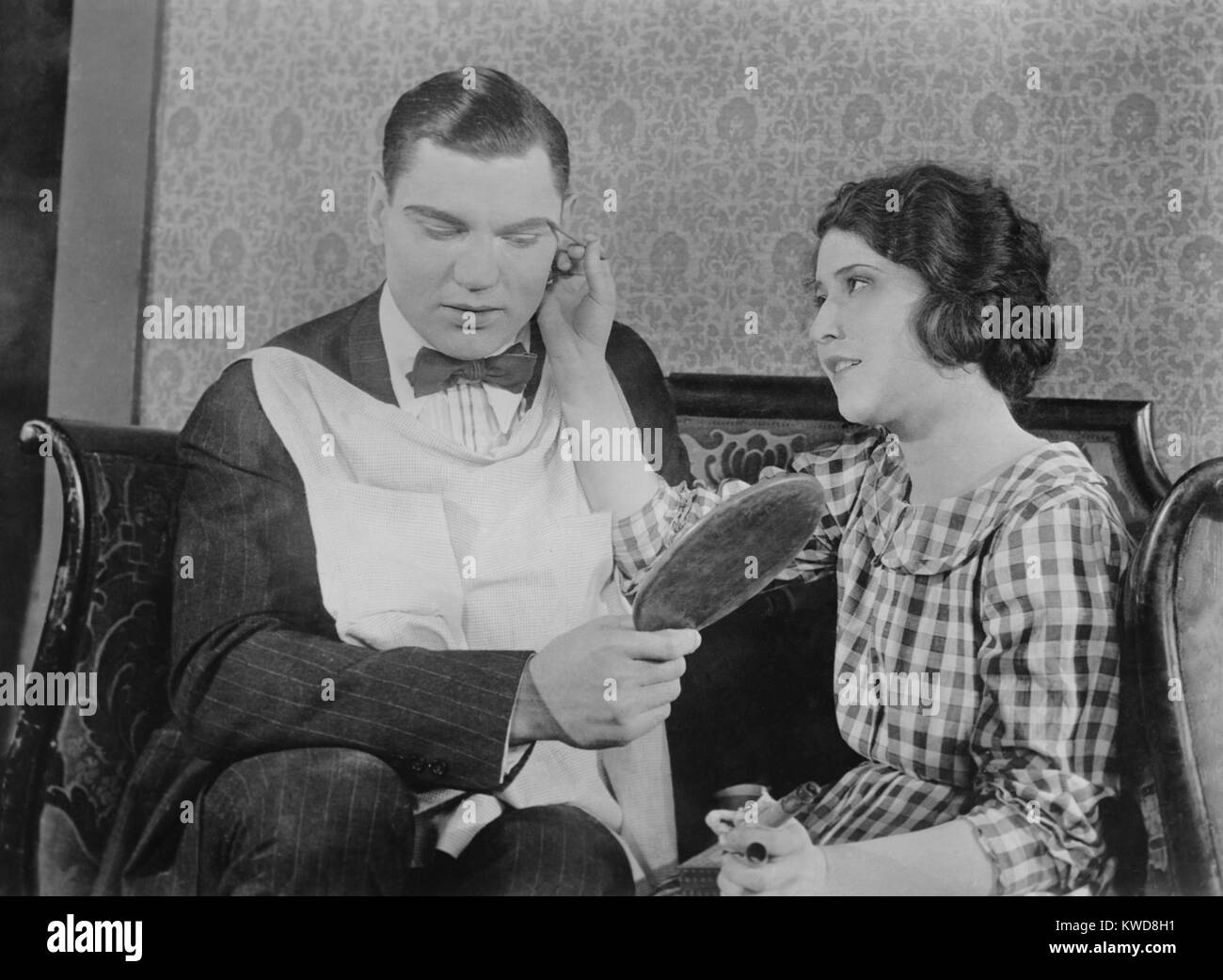 Former heavyweight champion boxer Jack Dempsey has make up applied. After boxing he starred in half a dozen silent - Stock Image