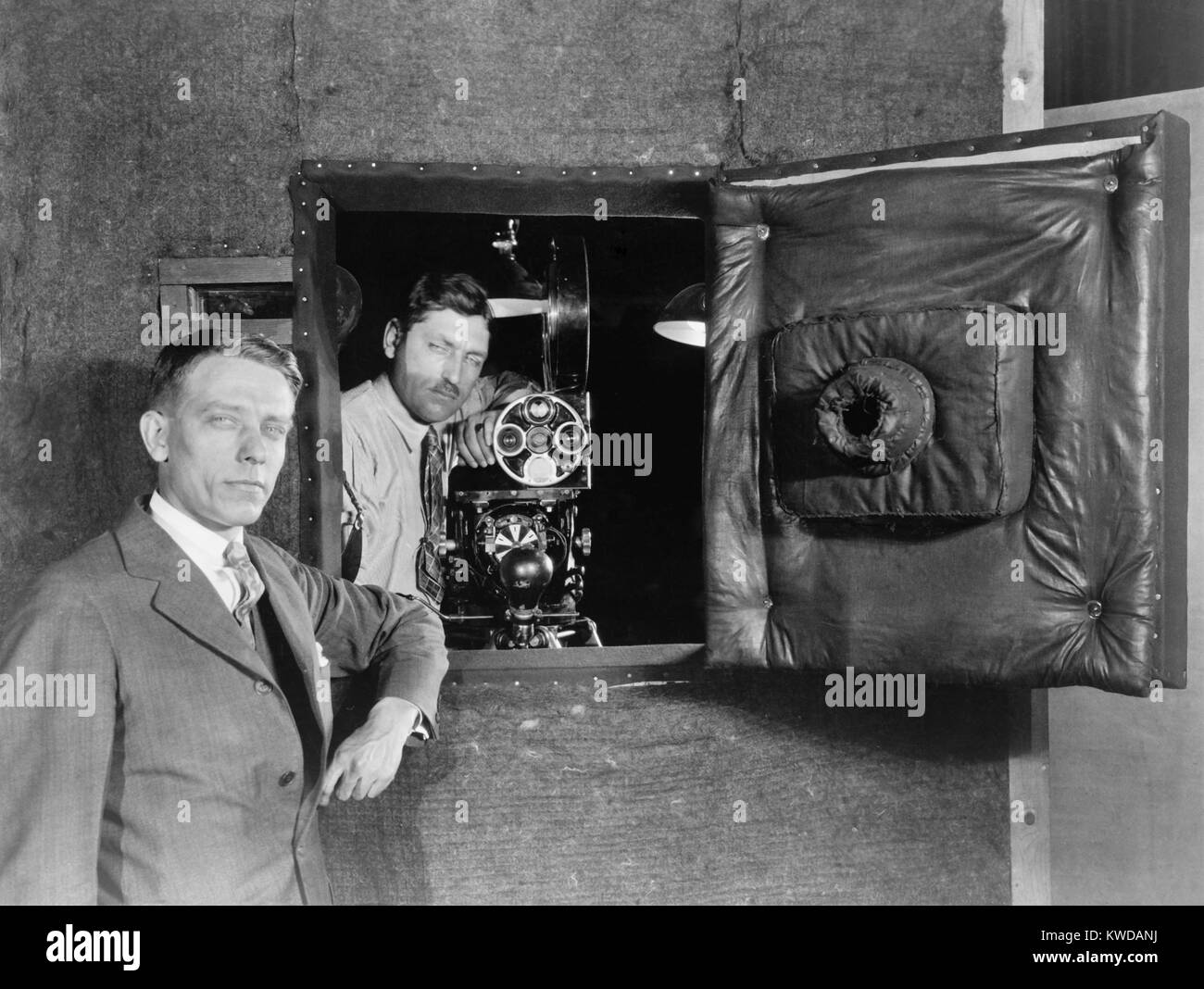 Soundproof camera booth designed to allowed actors voices to be recorded while filming, 1926. Designed by Western - Stock Image