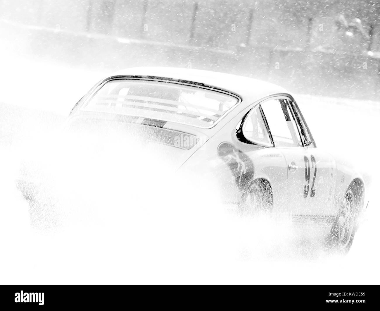 Porsche 911 In Rain Spa 6hrs Classic Black And White No 92
