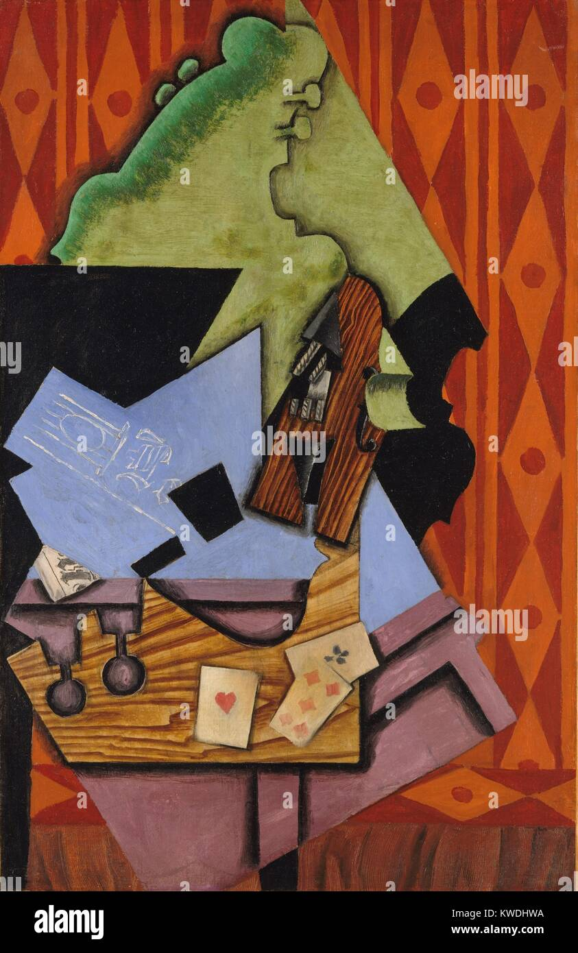 VIOLIN AND PLAYING CARDS ON A TABLE, by Juan Gris, 1913, Spanish Cubist painting, oil on canvas. Gris painted this - Stock Image