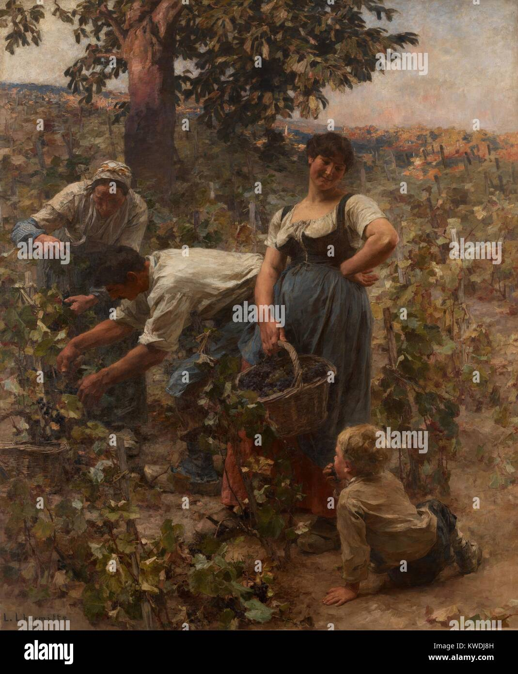 THE GRAPE HARVEST, by Leon-Augustin Lhermitte, 1884, French painting, oil on canvas. This beaux arts realist painting - Stock Image