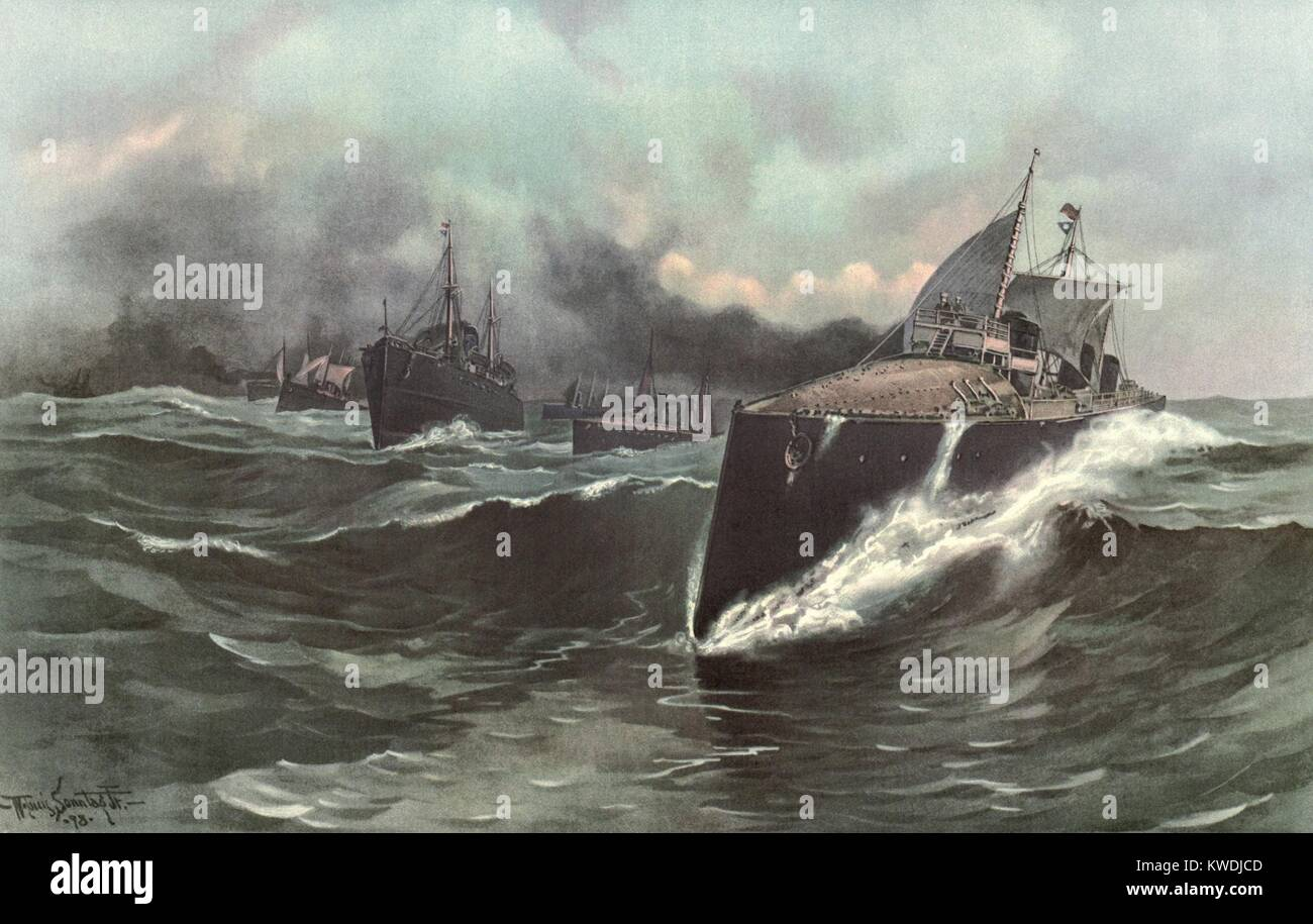 Spain's torpedo boat flotilla en route to Caribbean, May 1898. Spanish squadron, commanded by Admiral Pascual Cervera, - Stock Image