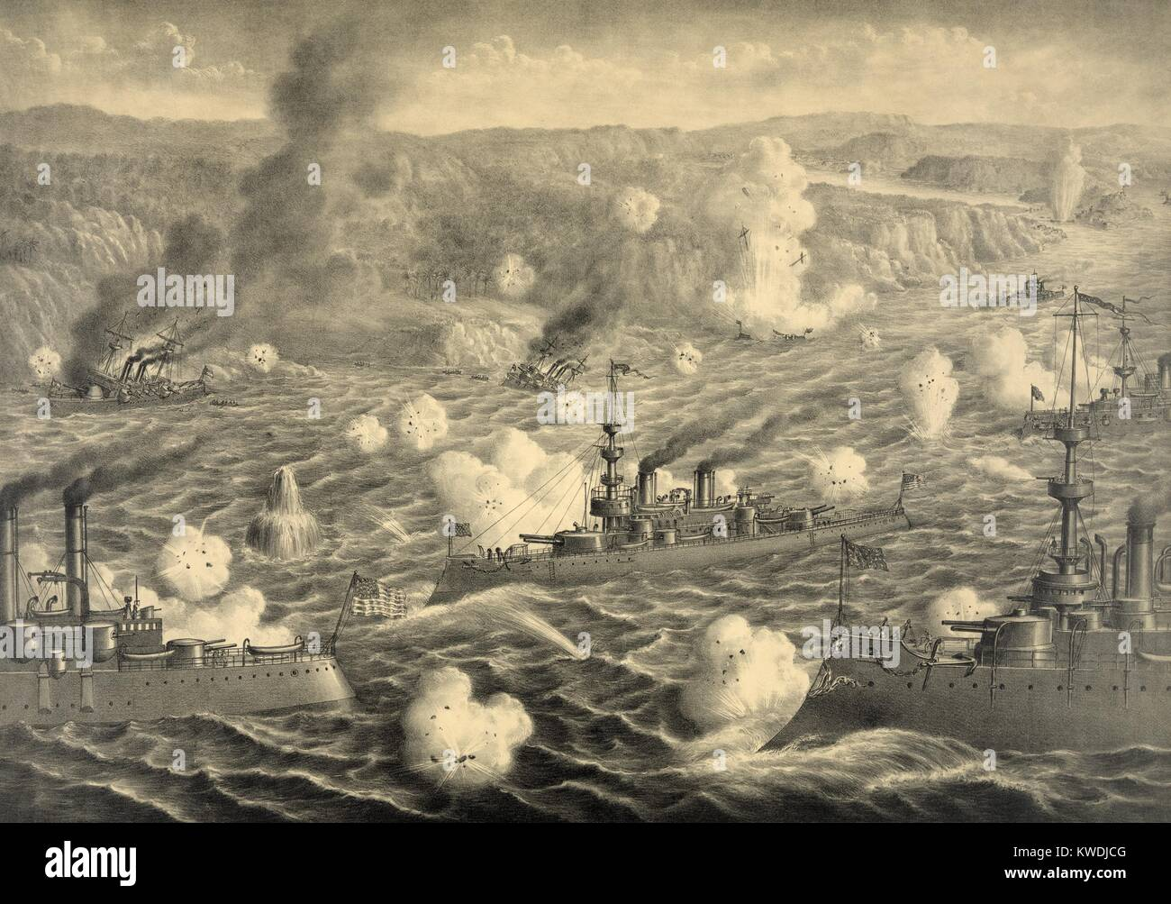 Destruction of Spanish fleet after it left Santiago Bay on July 3, 1898. Faced with capture or destruction when - Stock Image