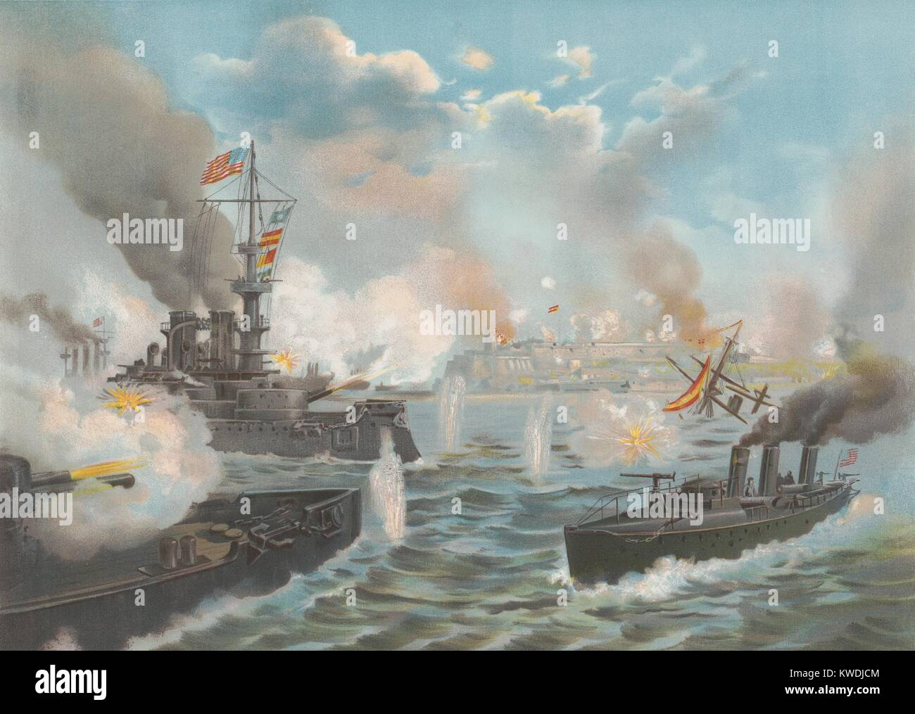 Bombardment of San Juan, Puerto Rico, May 12, 1898 lasted for 3 hours. US Admiral William Sampsons main objective - Stock Image