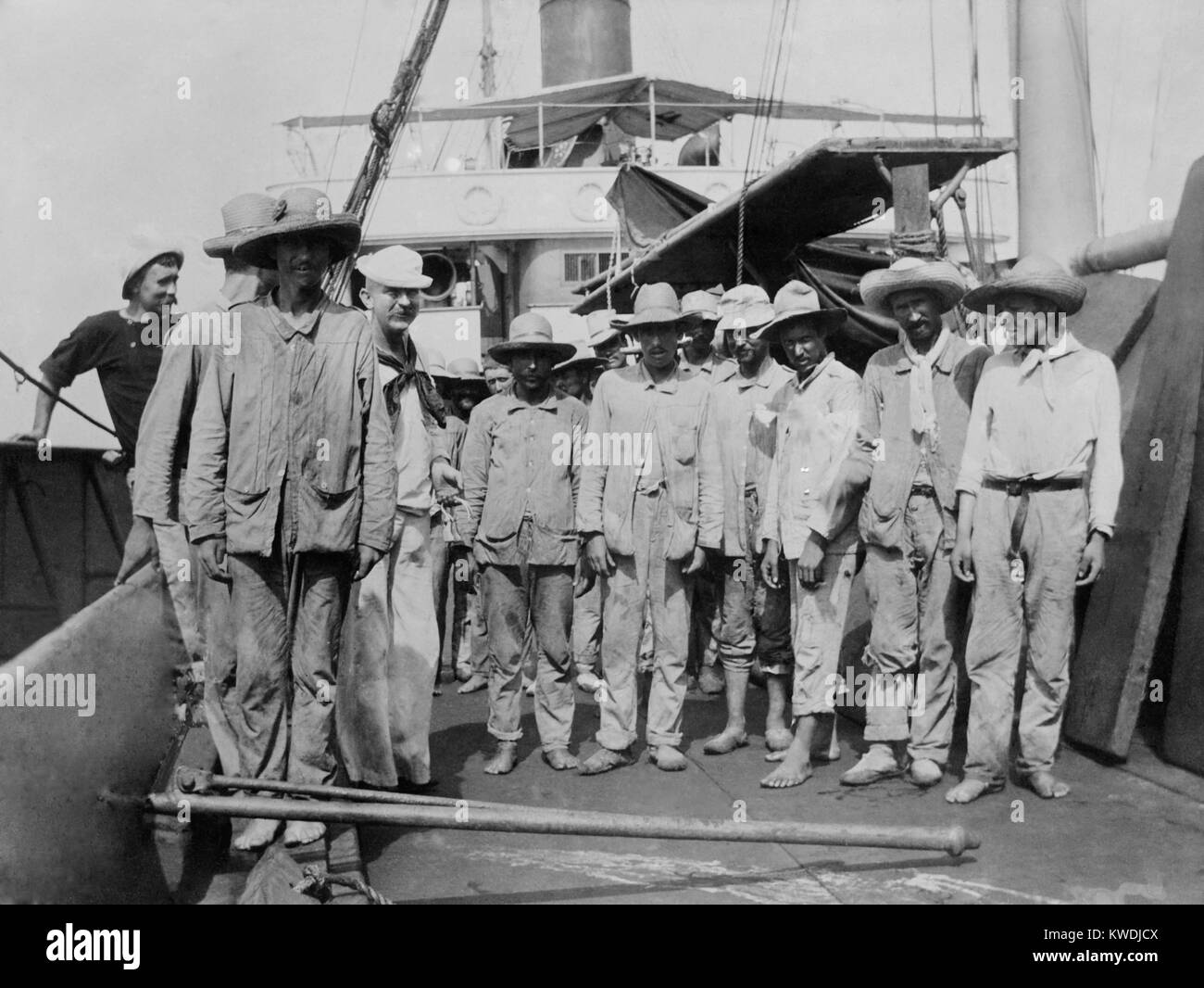 Spanish prisoners aboard the collier (coal ship) Abarenda at Guantanamo, June 14, 1898. US agreed to transport the - Stock Image