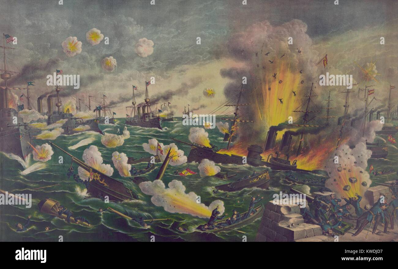 The Battle of Manila Bay, was the first fighting of the Spanish American war. May 1, 1898. Passing back and forth - Stock Image