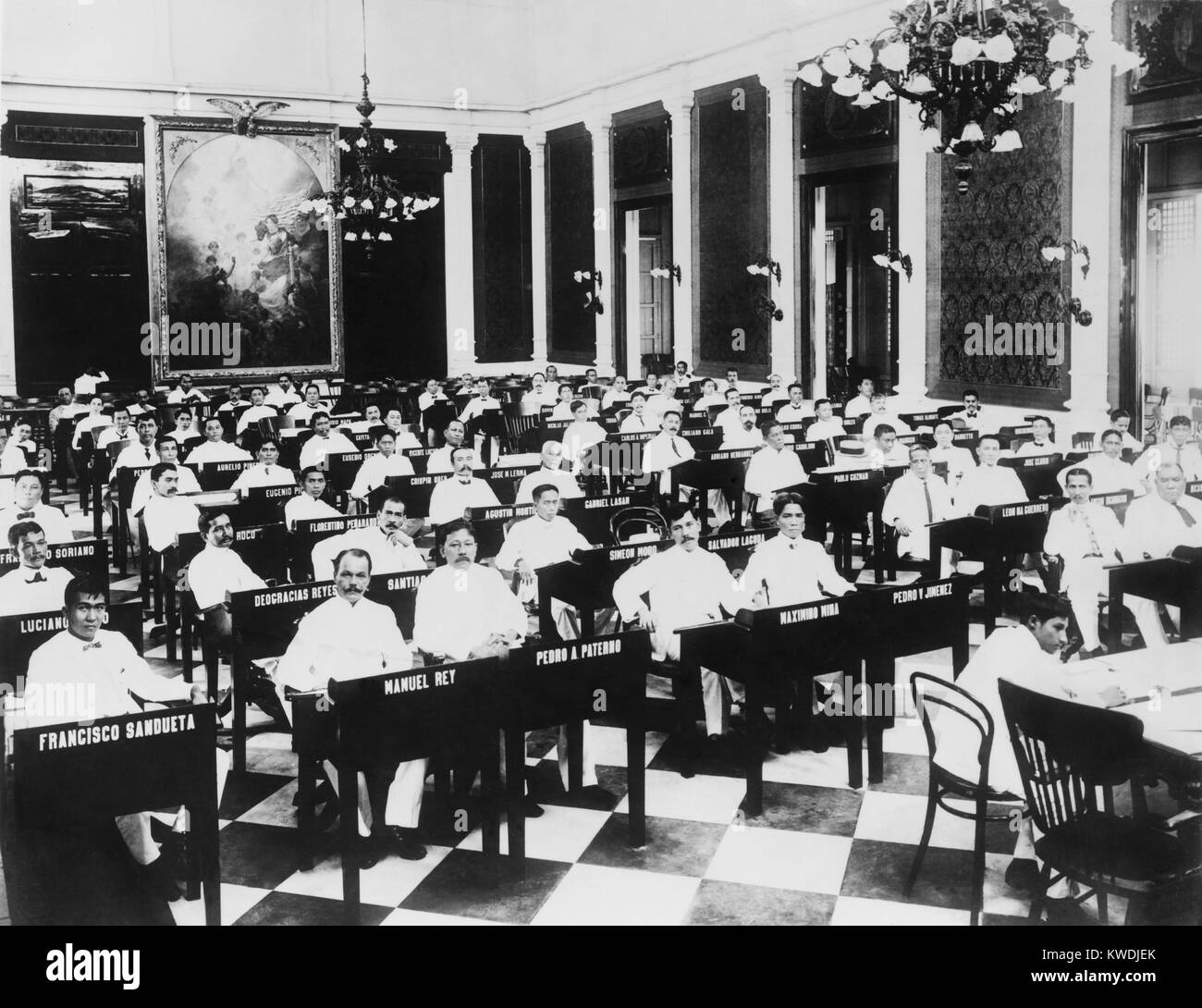 The popularly elected Philippines Assembly in its first session from 1908 to 1911. In 1916 the Philippine Senate - Stock Image
