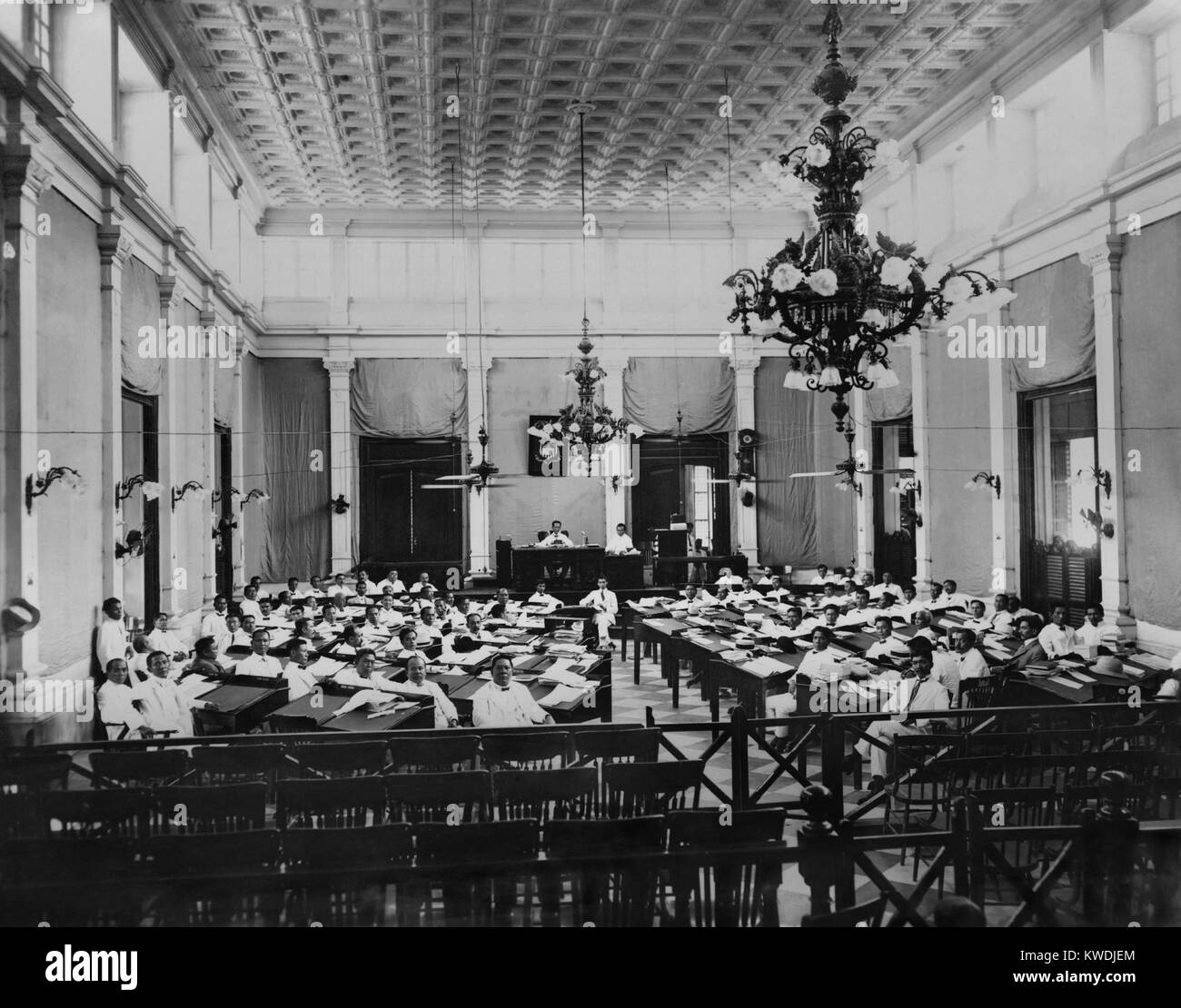 The Philippines Assembly in session, c. 1907. The popularly elected legislature was established by the US Congress - Stock Image