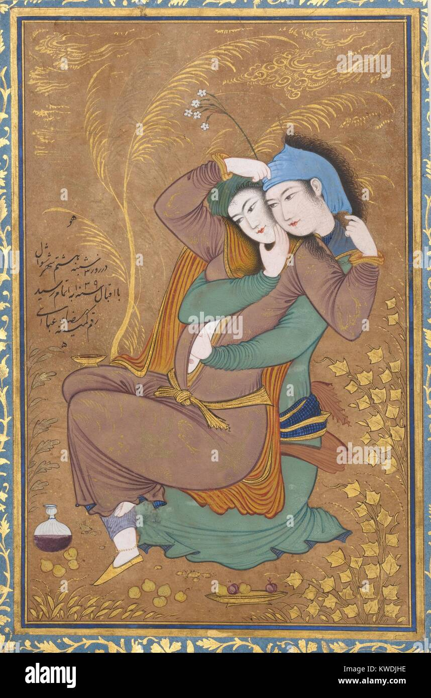 THE LOVERS, by Riza-yi Abbasi, 1630, Persian painting, opaque watercolor, ink, gold on paper. Miniature of lovers - Stock Image