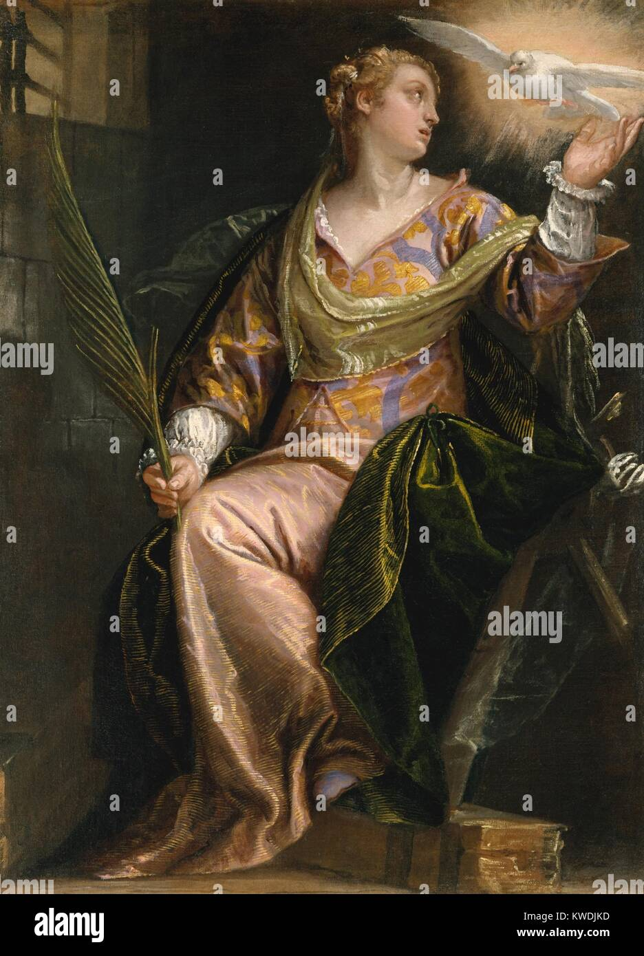 ST. CATHERINE OF ALEXANDRIA IN PRISON, by Paolo Veronese, 1580–85, Italian Renaissance painting. The young saint - Stock Image