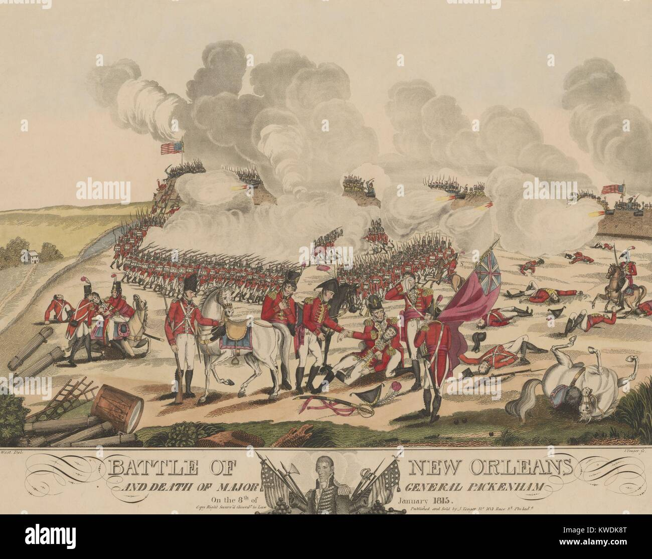 Battle of New Orleans and death of Major General Packenham and Samuel Gibbs, Jan. 8, 1815. This print shows the - Stock Image