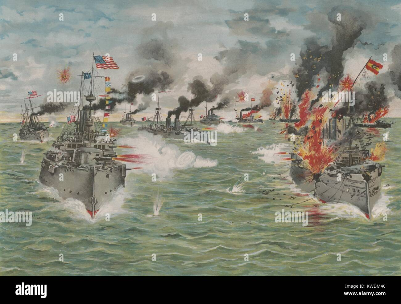 US Asiatic Squadron delivers the last broadside to the Spanish Pacific fleet, May 1, 1898. The Spanish fleet, was - Stock Image