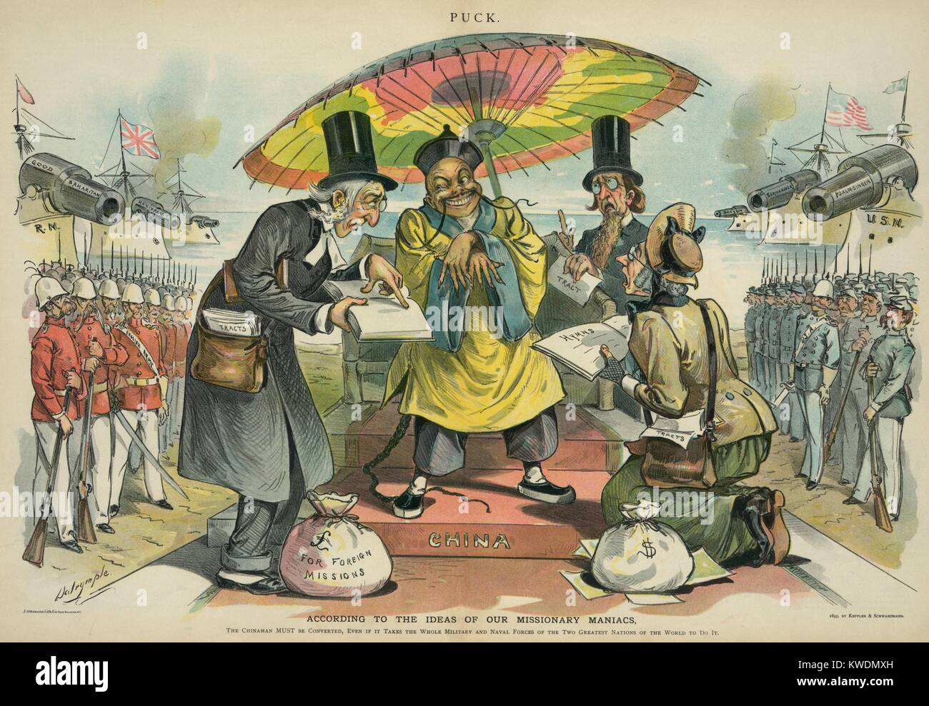 1895 political cartoon shows British and American missionaries preaching to a Chinese man. They are flanked by men - Stock Image