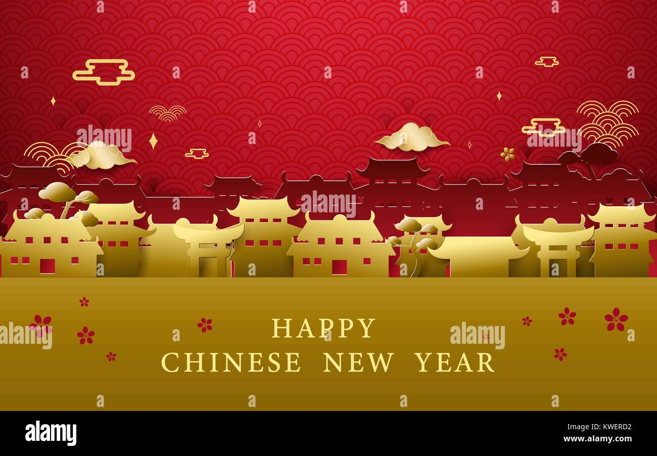 Happy Chinese New Year Greetings Gold And Red Chinese Village Stock