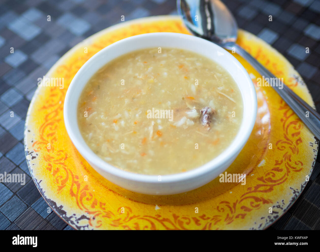 A bowl of homemade turkey soup (homemade chicken soup) from d'Lish by Tish Cafe in Saskatoon, Saskatchewan, - Stock Image