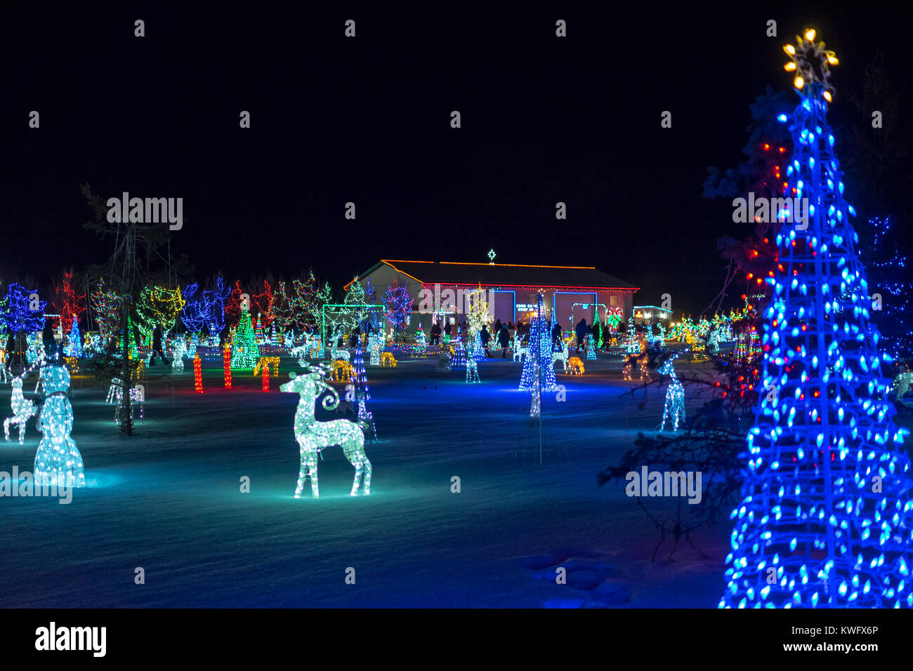 A view of the Leduc Country Lights, a brilliant Christmas lights display, in Leduc County, Alberta, Canada. - Stock Image