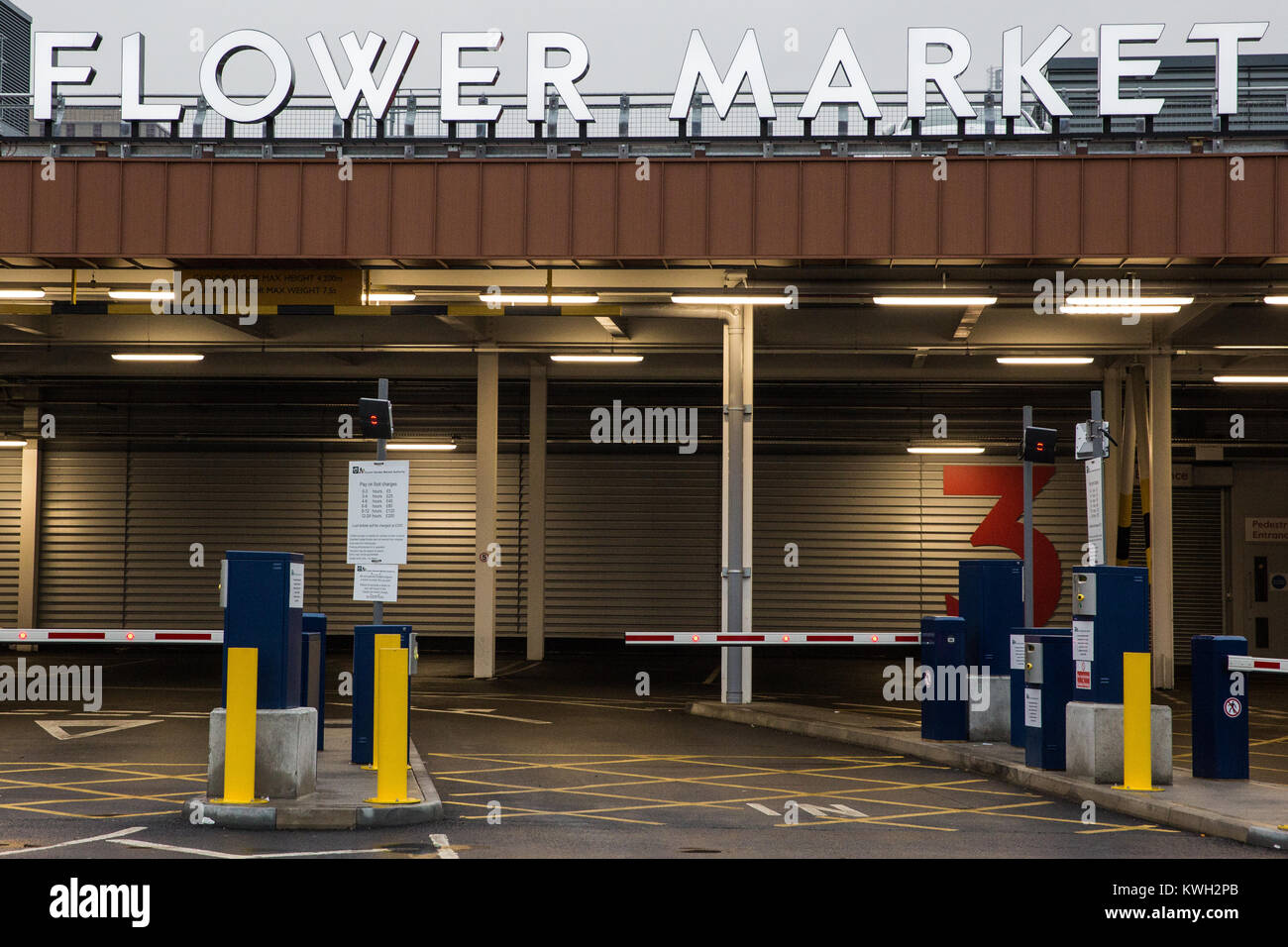London, UK. 20th December, 2017. An entrance to the flower market at New Covent Garden Market at Nine Elms. - Stock Image