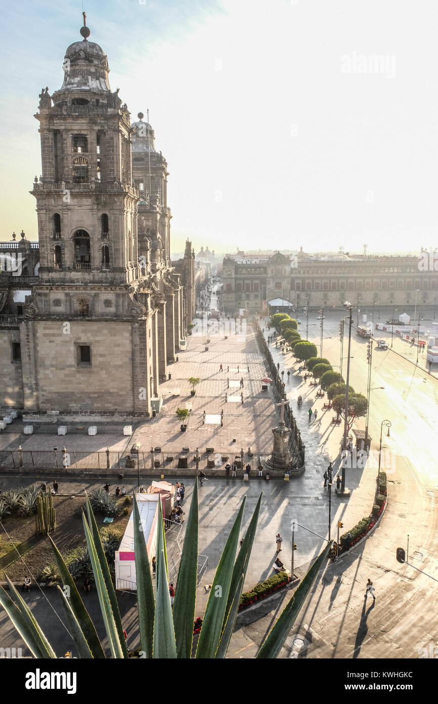 The Mexico City Metropolitan Cathedral seen from a hotel belcony - Stock Image