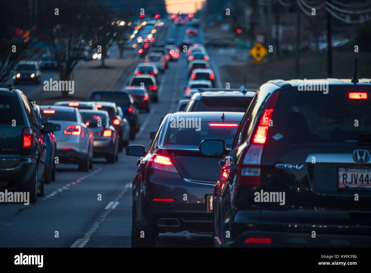 Rush hour traffic in Metro Atlanta, Georgia. (USA) - Stock Image
