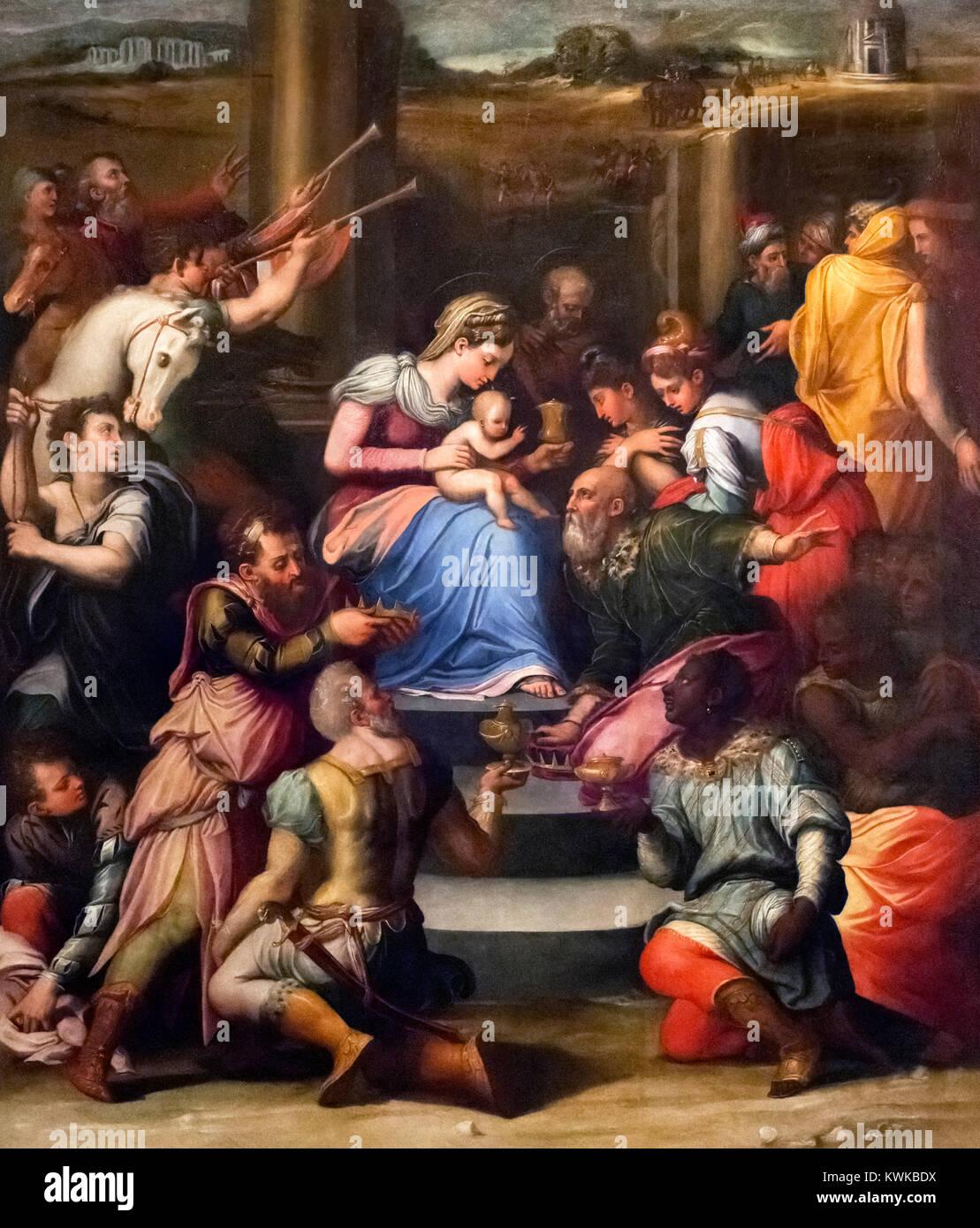 The Adoration Of The Magi By Raffaellino Del Colle 1490 1566