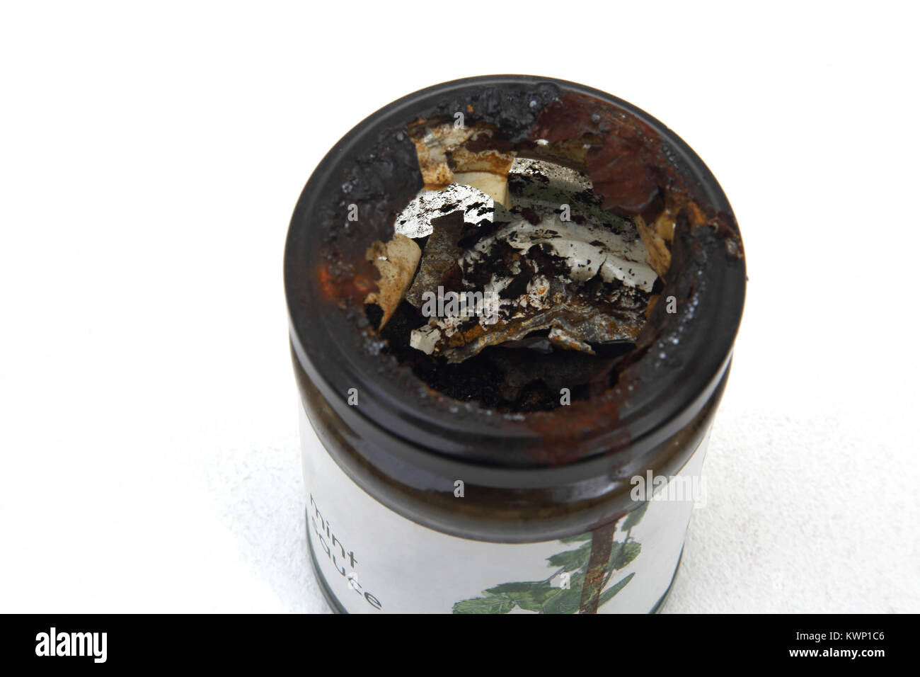 Old Jar Of Mint Sauce With Corroded Lid - Stock Image