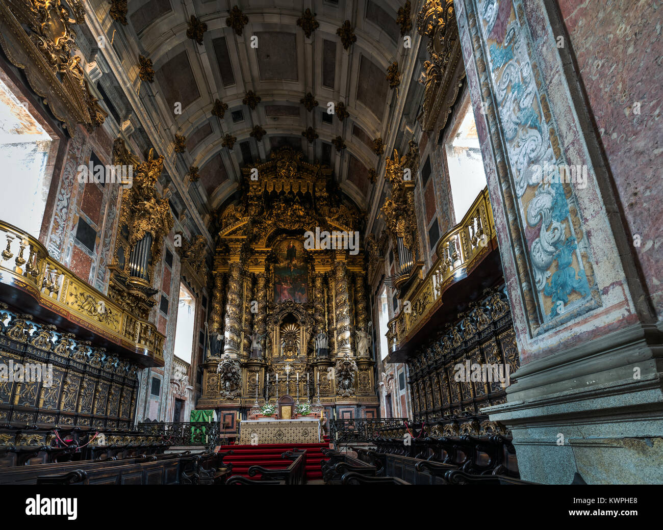 Porto, Portugal, August 14, 2017: Porto's Cathedral main altar. The Cathedral is one of the most important tourist - Stock Image