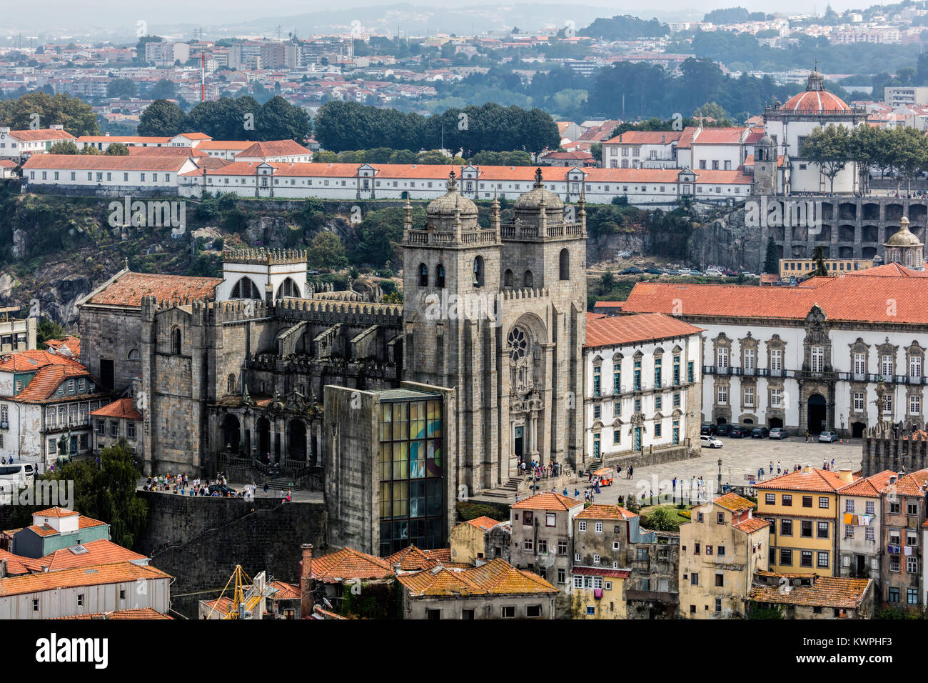 Porto Cathedral is one of the most important tourist sights in Porto, Portugal and a historical and architectural - Stock Image