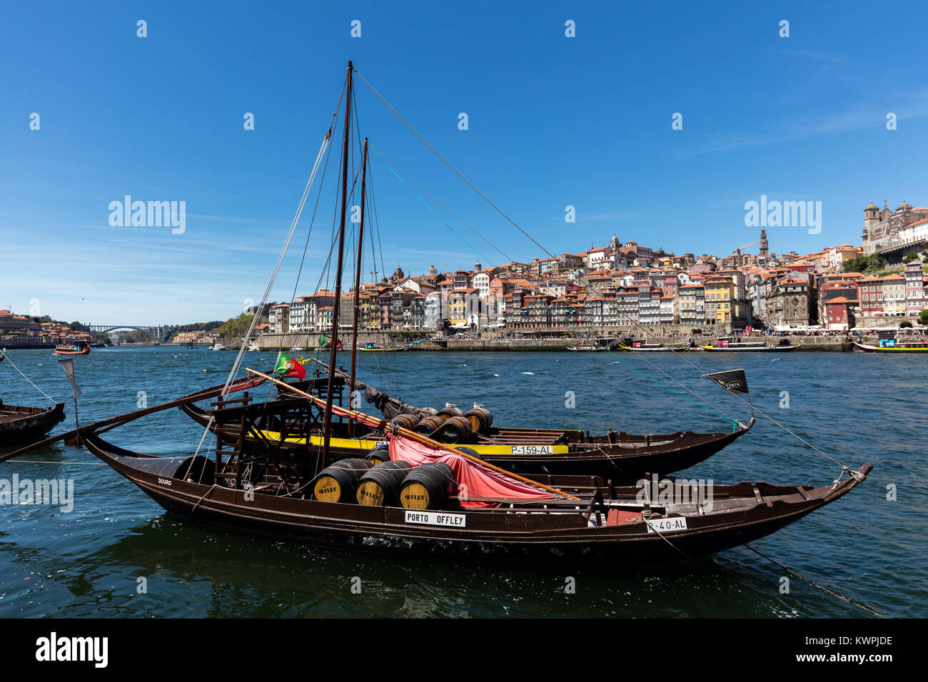 Porto, Portugal, August 15, 2017: Rabelo boats, one of the most popular symbols of Porto, used to carry barrels - Stock Image