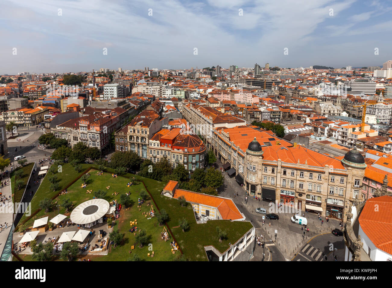 View of Porto, Portugal from the top of the Clerics Tower - Stock Image