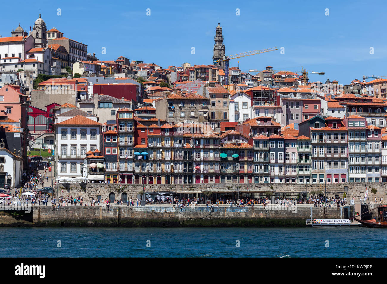 Porto, Portugal, August 16, 2017: View of the Porto's old town from across the Douro River - Stock Image