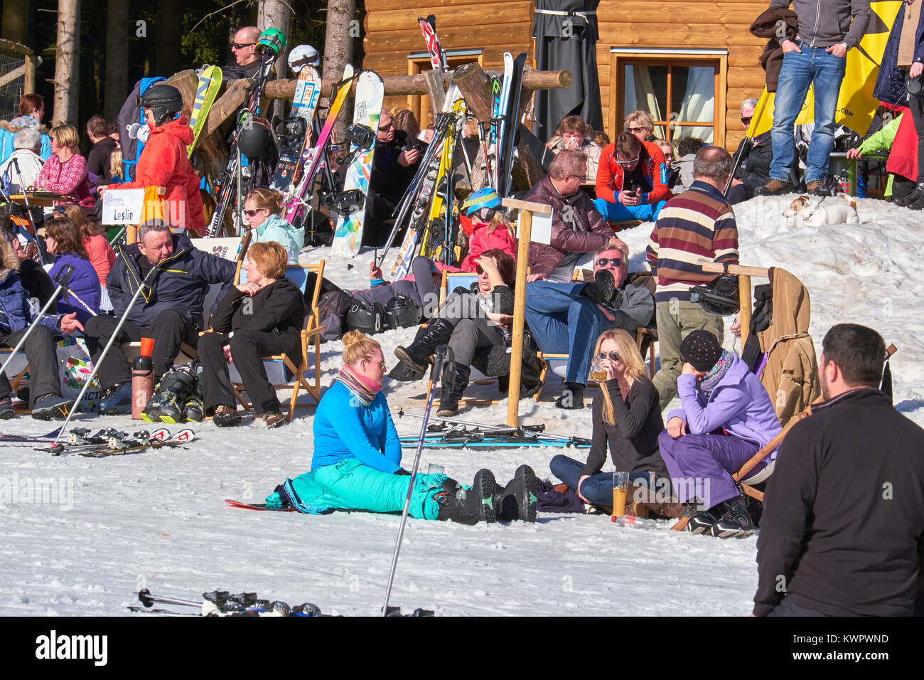 WINTERBERG, GERMANY - FEBRUARY 15, 2017: People sitting, drinking and relaxing  at Ski Carousel Winterberg - Stock Image