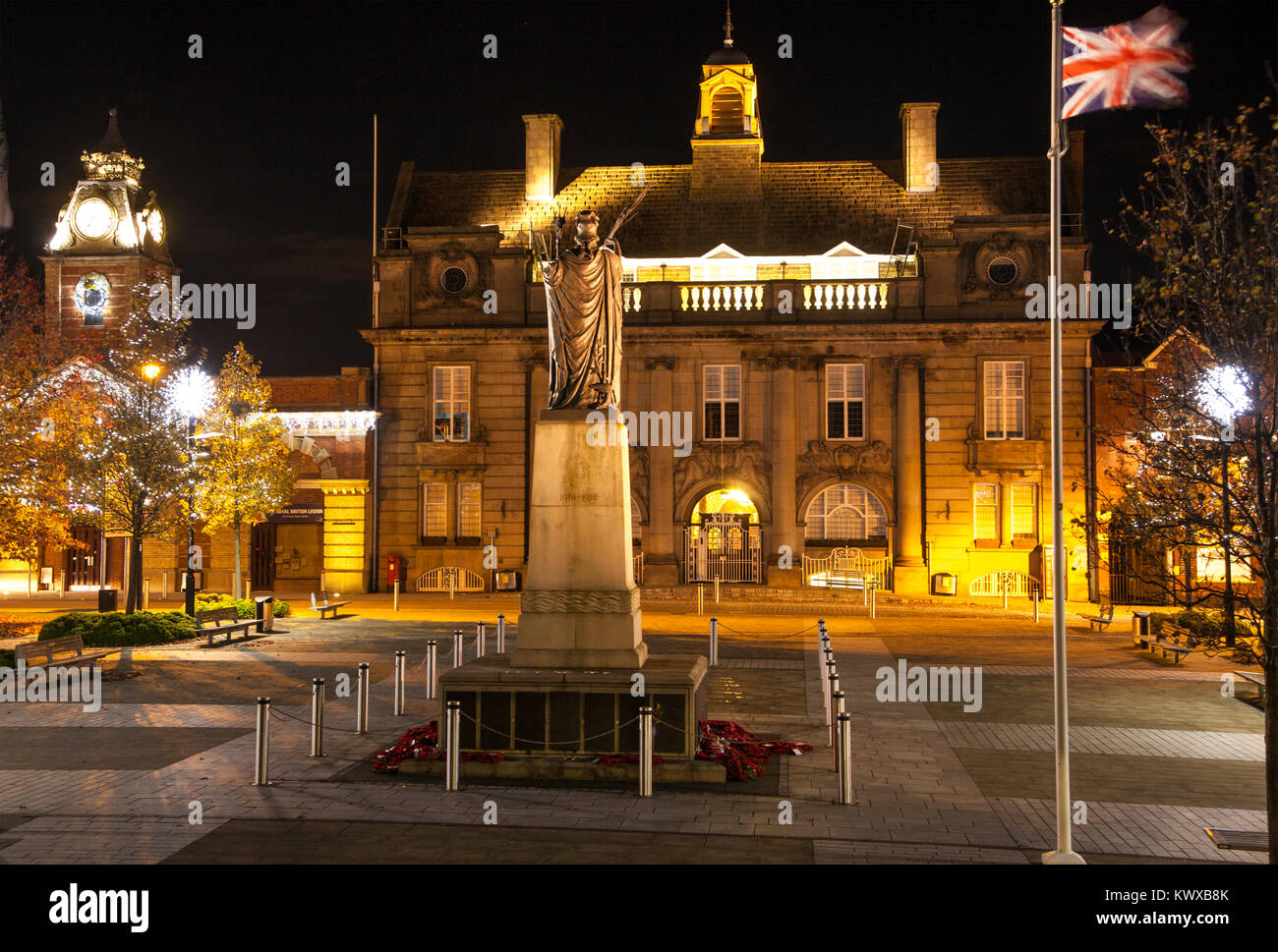 Crewe Town Center Cheshire Floodlit At Christmas Time With Christmas Tree  And Lights Showing The War Memorial Municipal Buildings Also The Town Hall