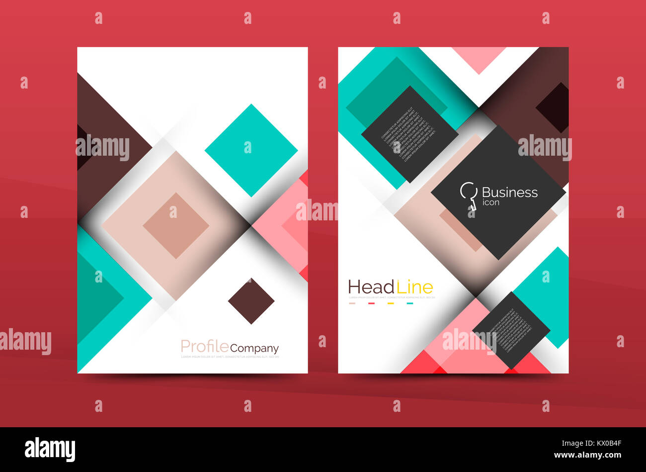 set of front and back a4 size pages business annual report design templates geometric square shapes backgrounds illustration