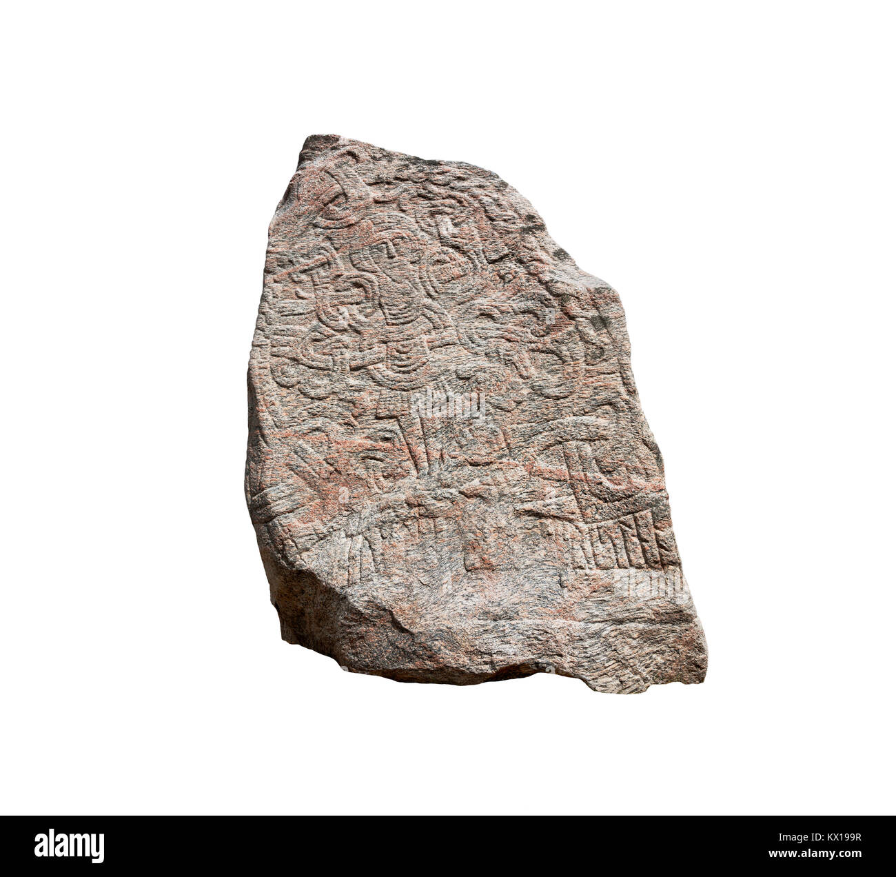 The figure of Christ on the large Jelling rune stone  raised by King Harald Bluetooth in the 960s. Other side of - Stock Image