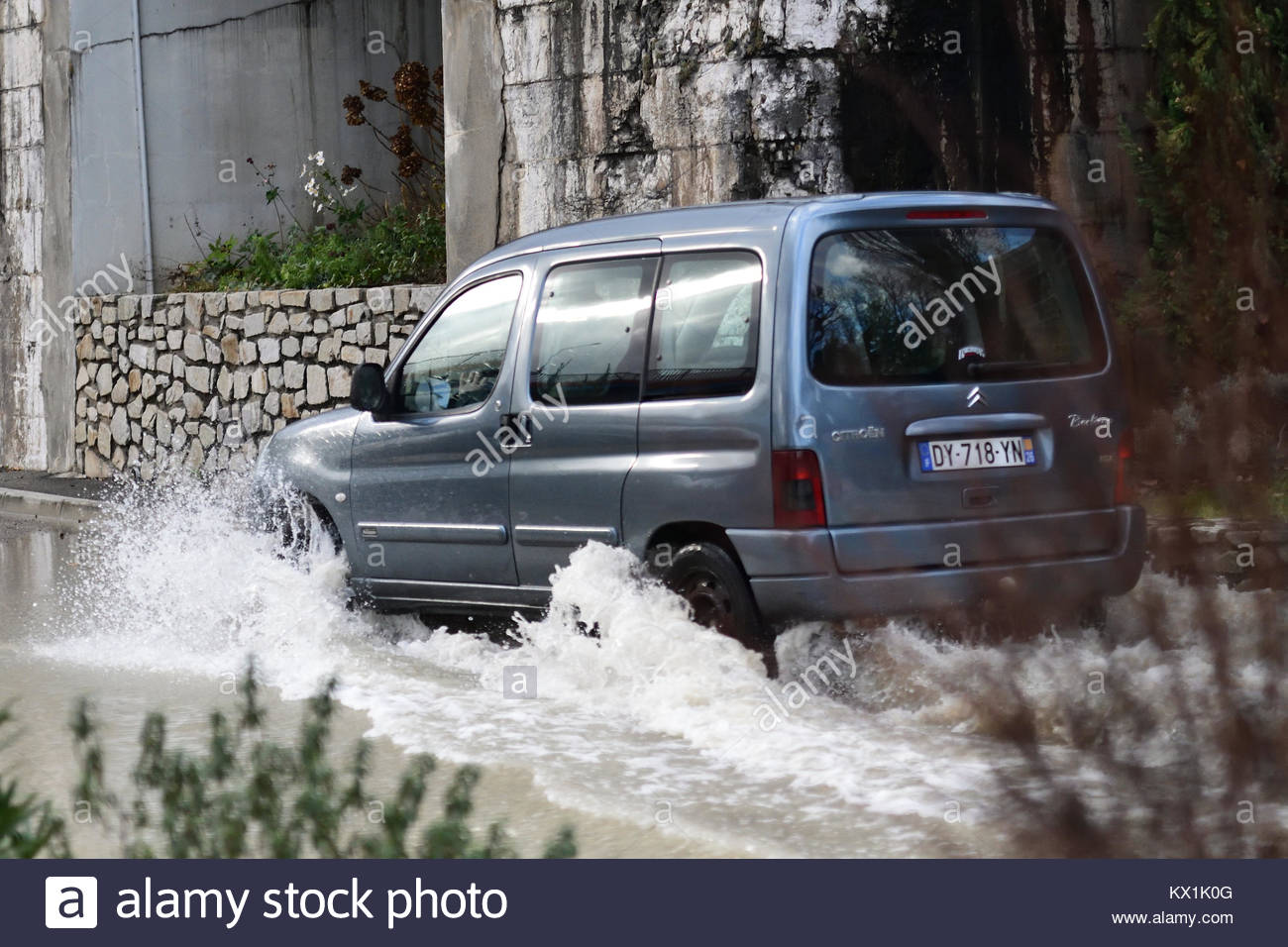 Véronne France 6 January 2018 The photo shows a car driving through floodwaters in Ardèche at Voulte-Sur - Stock Image