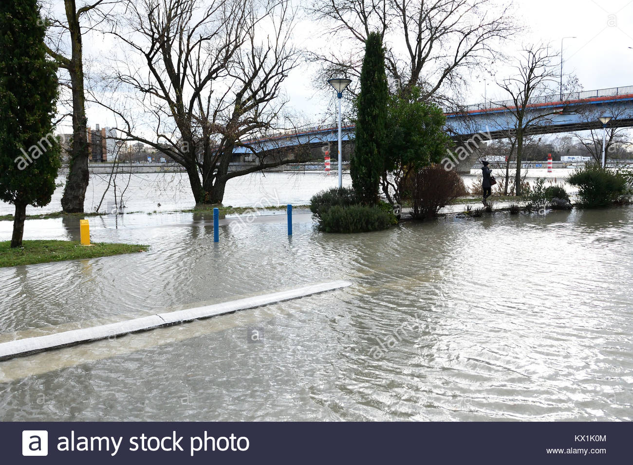 Véronne France 6 January 2018 The photo shows flooding in Ardèche at Voulte-Sur-Rhône in Drome, France - Stock Image