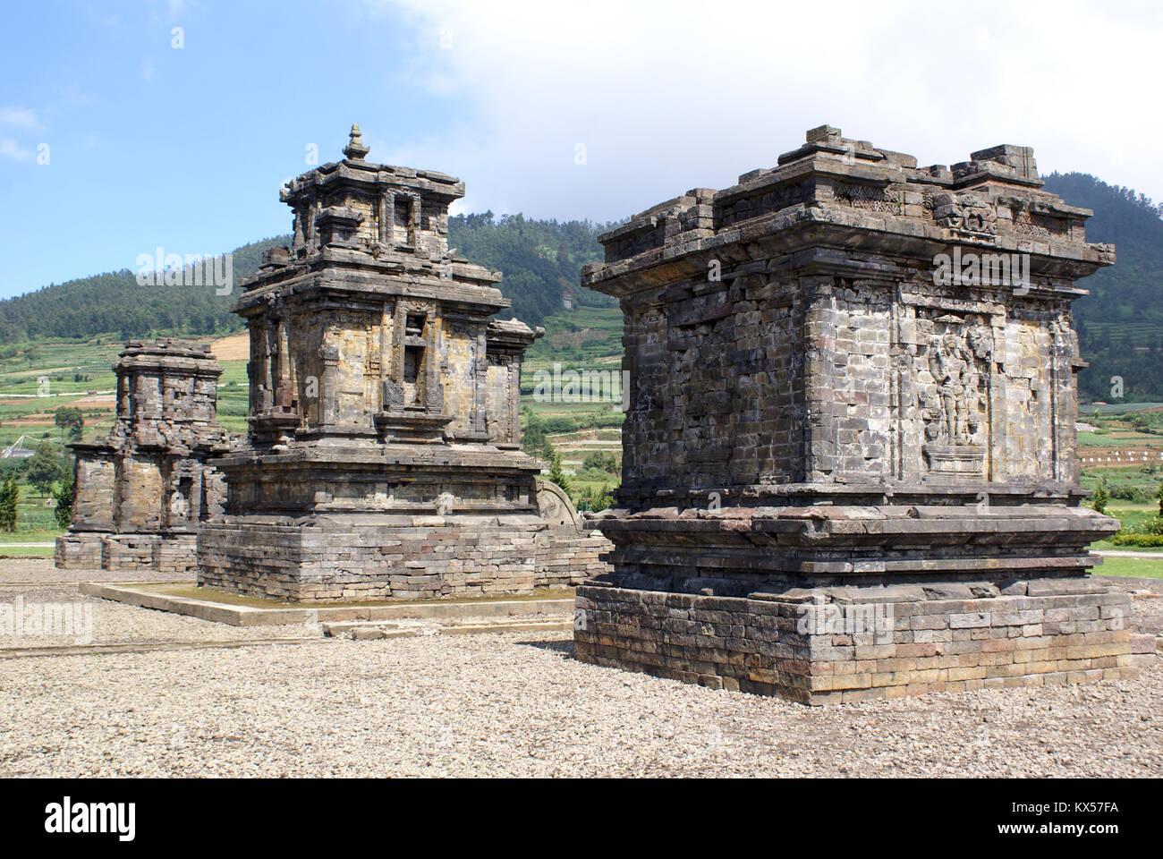 Arjuna complex on Dieng plateau, Java, Indonesia - Stock Image